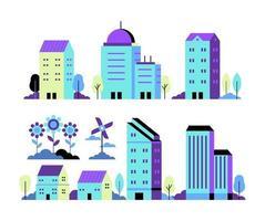 ensemble de vecteurs d'illustration de ville néon dans un style plat géométrique minimal vecteur