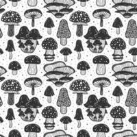 modèle sans couture de champignons forestiers, texture, fond vecteur