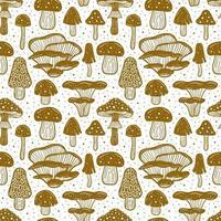 modèle sans couture de champignons forestiers vecteur