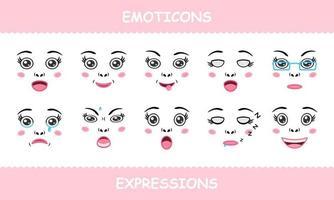 définir des émoticônes fait face à des expressions isolées dessin animé plat vecteur