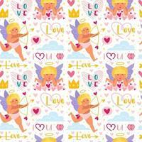 Cupids drôles avec motif sans soudure de flèche, arc et halo vecteur