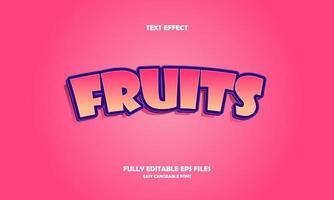 illustration vectorielle de texte moderne effet fruits vecteur