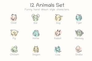 icône de signes du zodiaque mignon. 12 caractères dans un ensemble vecteur
