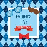 carte de fête des pères heureux avec décoration d'accessoires hipster vecteur