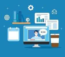 technologie d & # 39; éducation en ligne avec ordinateur et icônes vecteur