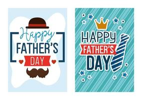 cartes de ser de bonne fête des pères avec décoration vecteur