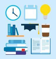 ensemble d'icônes de livres et fournitures d'éducation vecteur