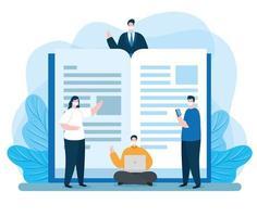 regrouper des personnes dans l'enseignement en ligne vecteur
