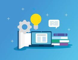 technologie d & # 39; éducation en ligne avec ordinateur portable et icônes vecteur