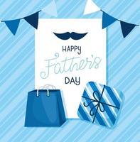 carte de fête des pères heureuse avec guirlandes suspendues et décoration vecteur