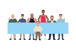 groupe d & # 39; hommes divers et uniques tenant une bannière vecteur