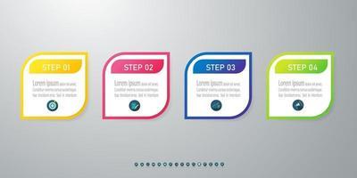 conception infographique de la chronologie avec des icônes 4 étapes.