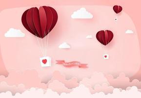 ballons à air coeur dans le ciel rose vecteur