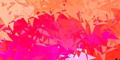 toile de fond de vecteur rose clair avec des triangles, des lignes.