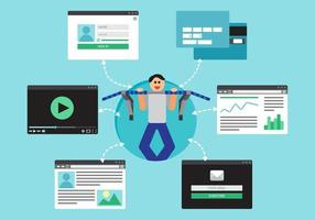 réseau de socail virtuel web vecteur
