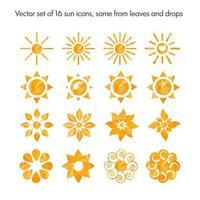 ensemble de vecteurs de 16 icônes de soleil