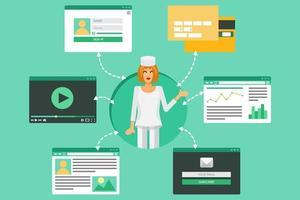 concept de médecine en ligne vecteur