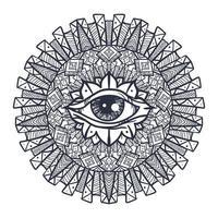 tous les yeux voyants dans le mandala vecteur
