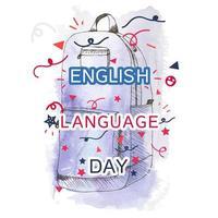 bannière de la journée de la langue anglaise vecteur