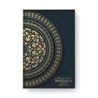 carte de voeux de luxe avec motif mandala et bordure dans un style rétro vecteur