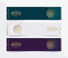 carte décorative de luxe mandala dans un ensemble de couleur or vecteur