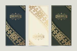 carte de voeux vintage de luxe avec motif de bordure vecteur
