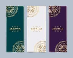carte décorative mandala de luxe en couleur or vecteur
