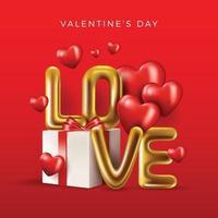 boîte de cadeaux réaliste de conception de la saint-valentin vecteur