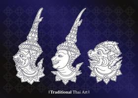 ensemble d'art thaï traditionnel vecteur