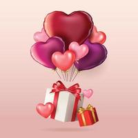 bonne bannière de la saint valentin avec des ballons vecteur