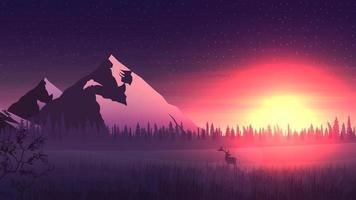 paysage de vecteur avec de grandes montagnes et une forêt de pins à l'horizon, le lever du soleil orange vif et le cerf dans le miadow enneigé