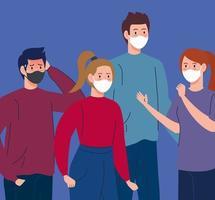 campagne de distanciation sociale contre le coronavirus avec des personnes portant des masques faciaux vecteur