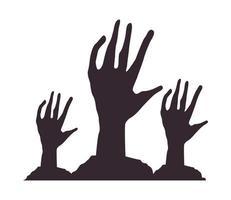 mort zombie mains icônes isolées vecteur
