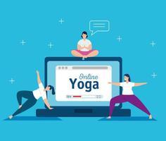 femmes pratiquant le yoga en ligne vecteur
