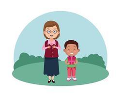 Jolie jeune enseignante avec des lunettes et un écolier noir tenant un cadeau vecteur