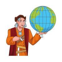 christopher columbus avec personnage de cartes du monde vecteur