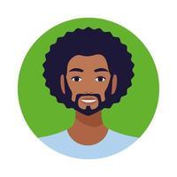 homme noir avec personnage avatar barbe vecteur