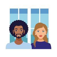 couple interracial, homme noir et caractères avatars femme caucasienne vecteur