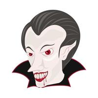 tête de comte de dracula personnage halloween vecteur