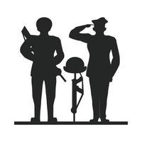 Groupe de soldats saluant la silhouette vecteur