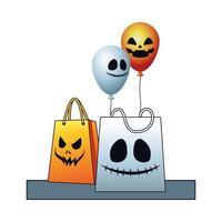 ballons d'hélium d'halloween flottant avec des sacs à provisions vecteur