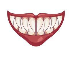 icône de halloween bouche de clown maléfique sombre vecteur