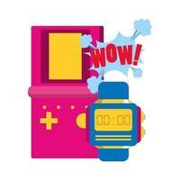 conception pop art de jeu vidéo rétro portable et montre vecteur