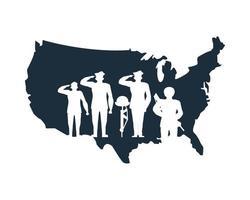 Groupe de silhouettes de soldat saluant dans la carte des états-unis vecteur