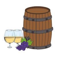 vin tonneau en bois et grappe de raisin design plat vecteur
