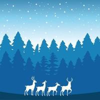 scène de paysage de neige de forêt avec des silhouettes de rennes vecteur