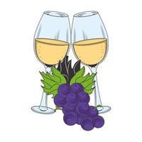 Verre à vin et grappe d'image d'icône de raisin, design plat