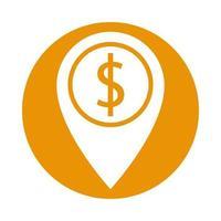 symbole dollar argent à l'emplacement du pointeur vecteur
