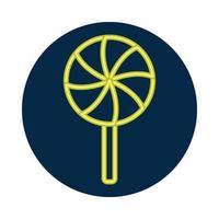 icône de style néon sucette douce vecteur