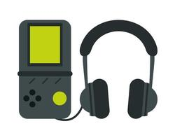 jeu vidéo portable avec écouteurs vecteur